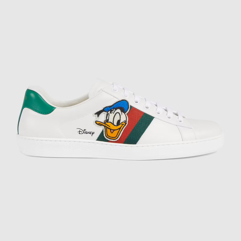 Men's Disney x Gucci Donald Duck Ace Sneaker In White Leather | GUCCI® UK